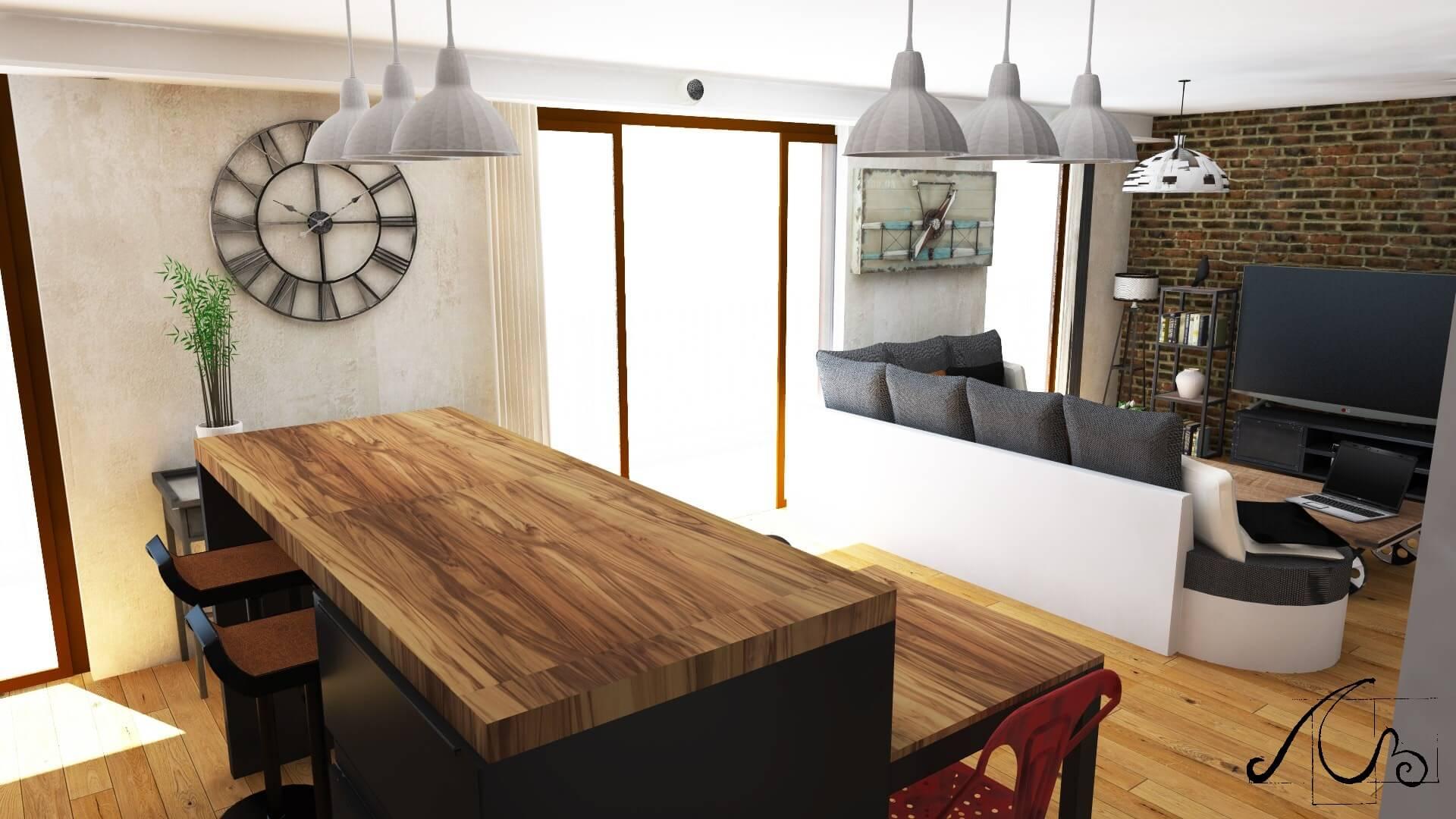 cuisine et salon étude